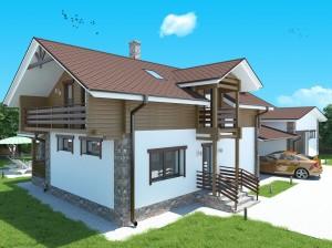 проект дома без гаража с балконом