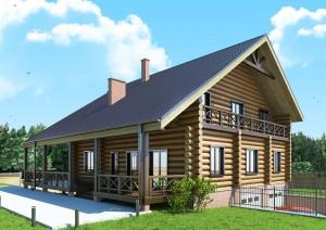 проектк дома из цилиндрового сруба с небольшой верандой и большим балконом
