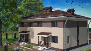 проект бетонного дома на 2 семьи