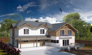 проект дома из смешанных материалов с большой площадкой