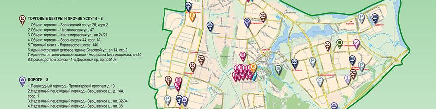Размещение информации о строительстве и округах города Москва