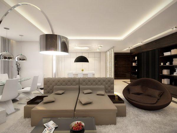 Стиль хай-тек для интерьера гостиной