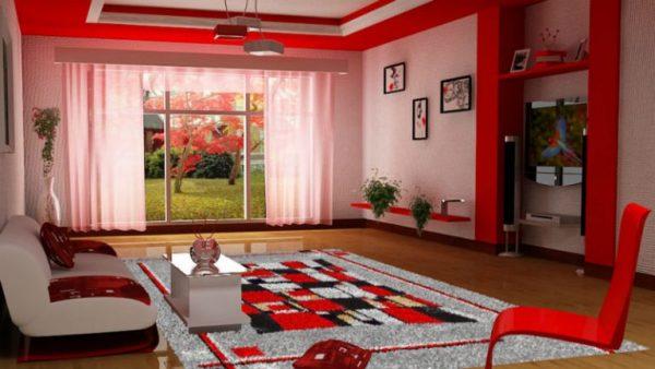 Красная гостиная - ярко и уютно